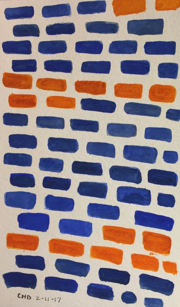 Watercolor painting of blue and orange bricks