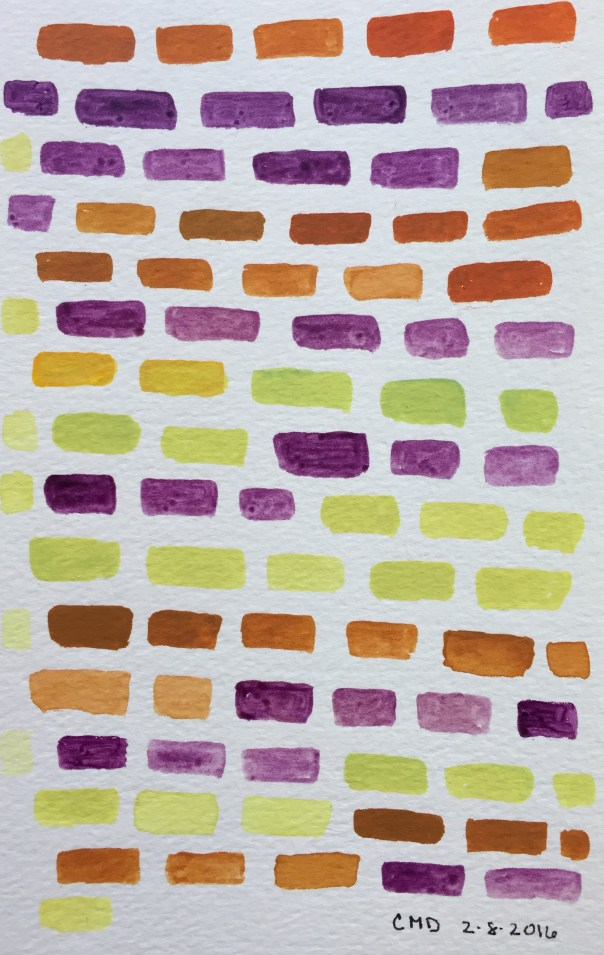 Watercolor painting of purple bricks