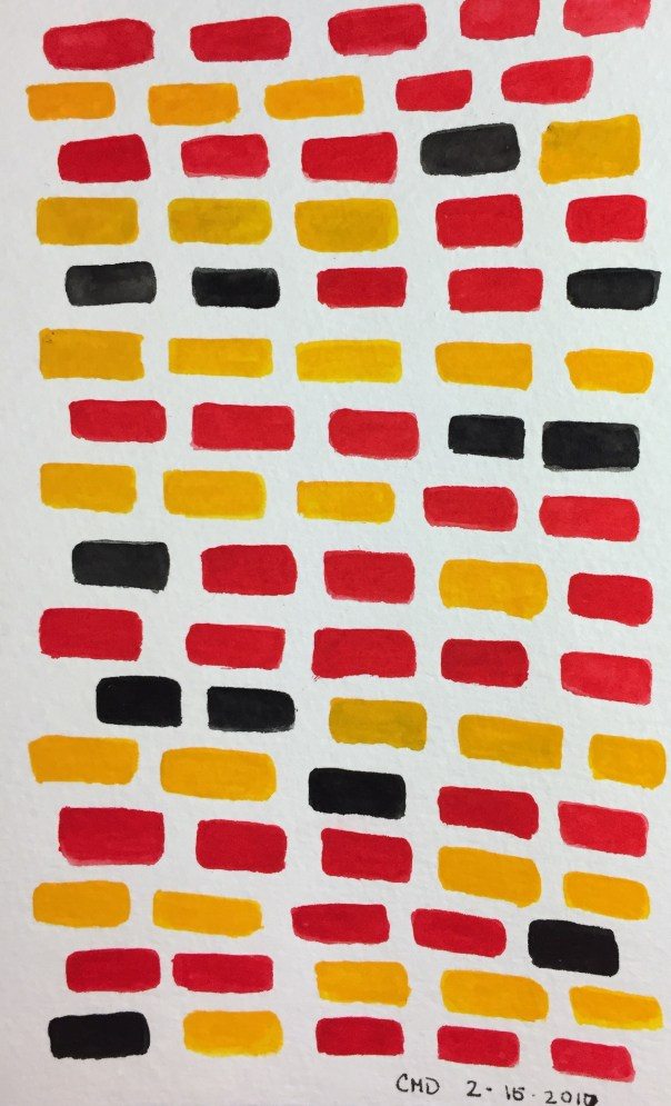 Watercolor painting of red bricks