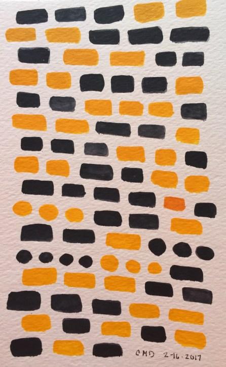Watercolor painting of navy and yellow bricks