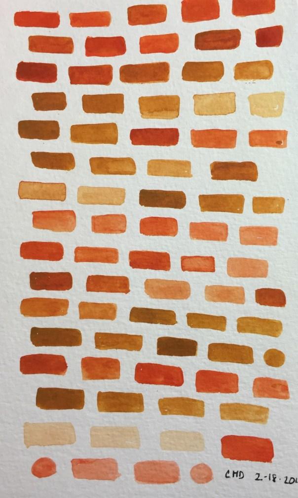 Watercolor painting of orange and rust bricks