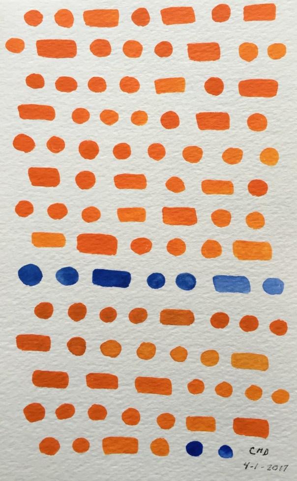 Painting of orange and blue bricks