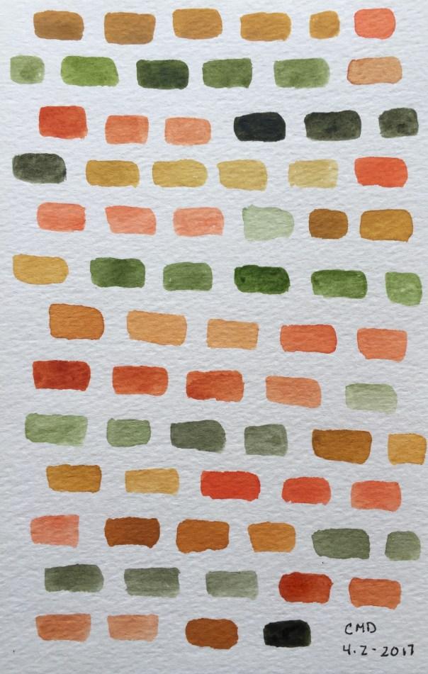 Watercolor painting of brown and orange bricks