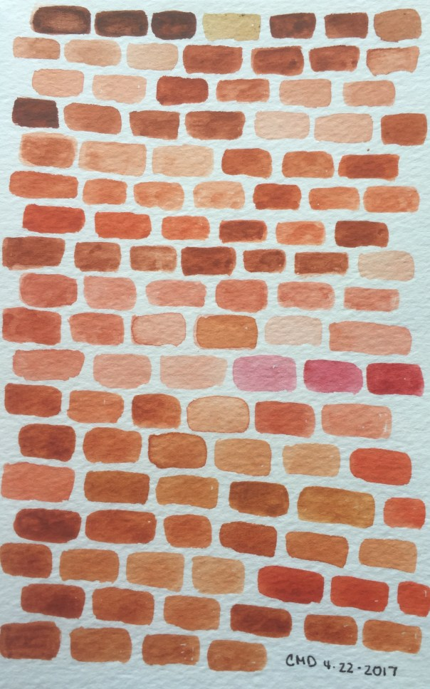 watercolor painting of rust bricks