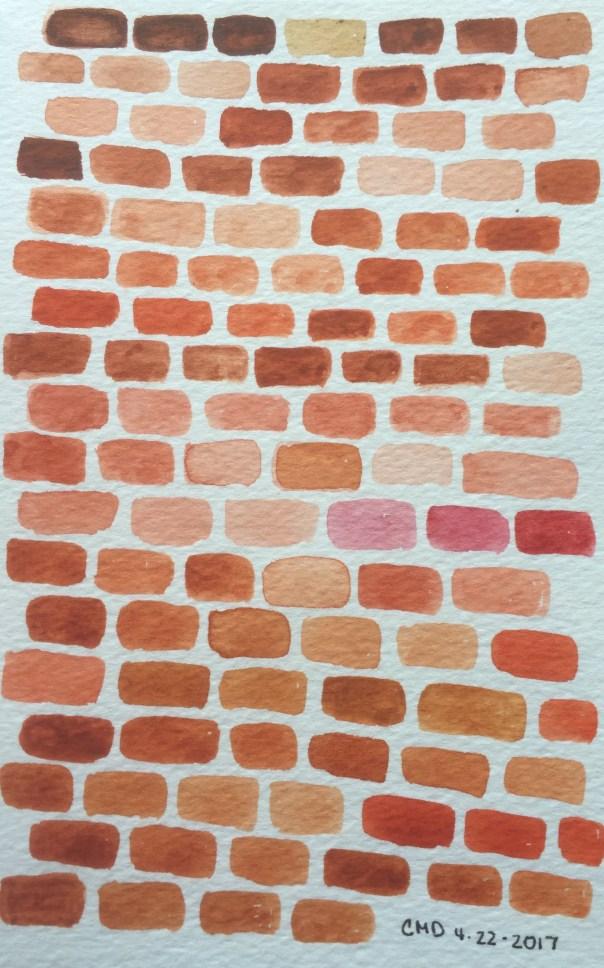 watercolor painting of rust bricks