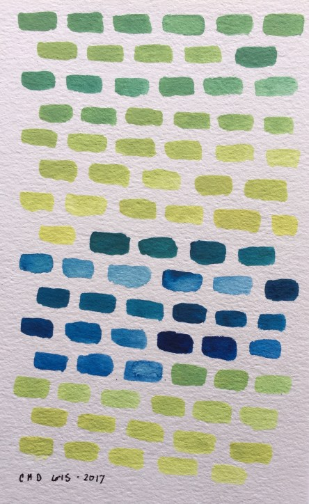 Watercolor painting blue and green bricks