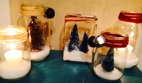 Christmas jars candles lit