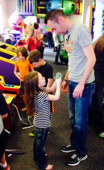 Chuck E Cheese Nate with kids