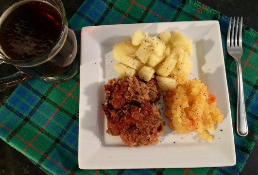 Burns Night Dinner 2017 featuring vegan haggis