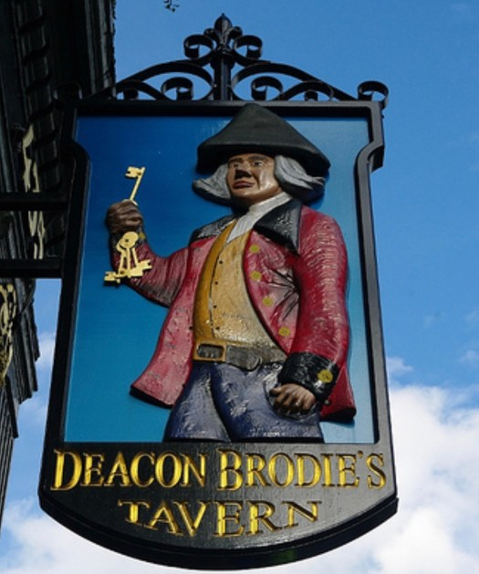 Deacon Brodie Edinburgh's Real Life Jekyll and Hyde tavern sign