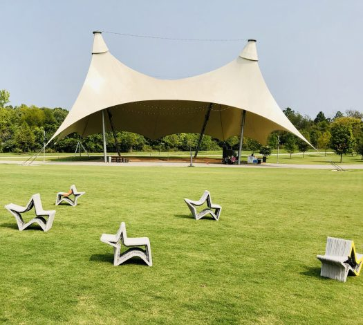 The Momentary tent and sculptures