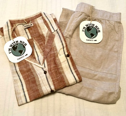 Toad&Co Eco-Friendly Clothes camp shirt and taj hemp pants