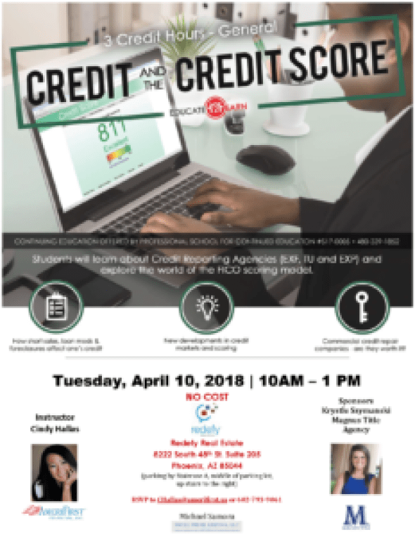 Cindy Hallas Credit Continuing Education class Redefy Real Estate