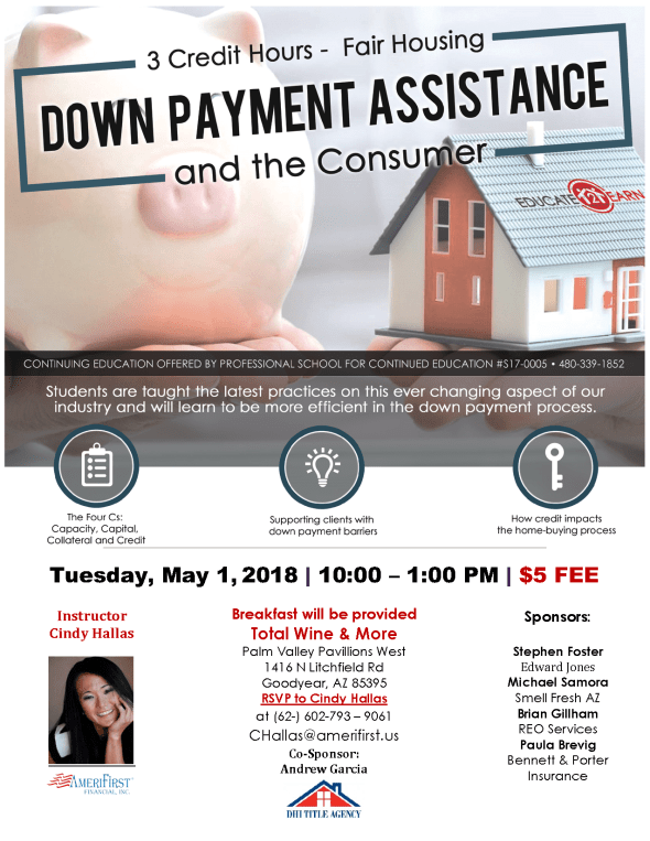 Cindy Hallas Down Payment Assistance CE class West Valley Realtors with Bennett