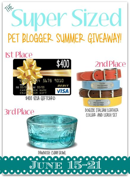 Pet Blogger Summer 2015 Giveaway Prizes