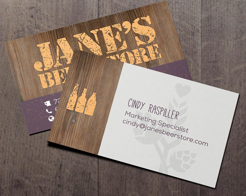 Jane's Beer Store Business Card