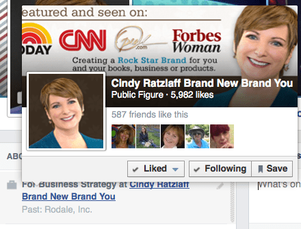 Add a pop up business card to your personal profile on Facebook.