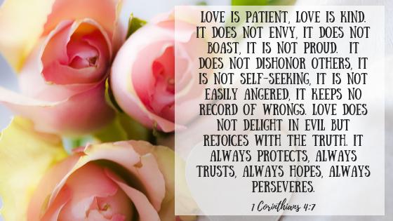 Bible verse 1 Corinthians 13: 4-7