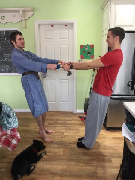 Kyle playing tug-of-war with Eythan.
