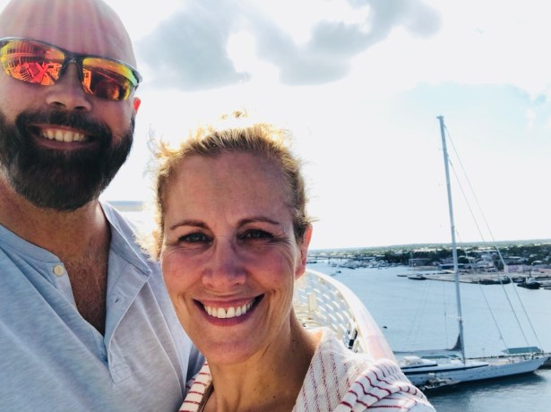 Vance and Cindy at a marina.