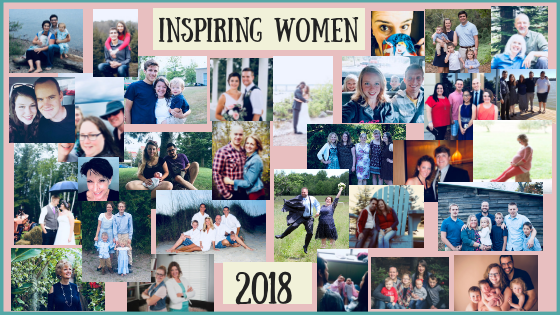 A collage of pictures of thirty different woman and their families.