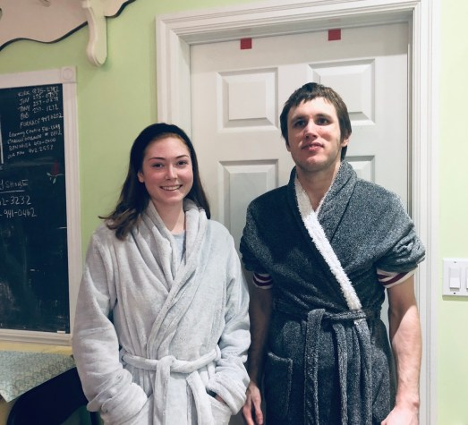 Jazmin and Kyle in their housecoats