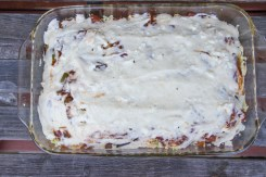 mousakka uncooked in casserole