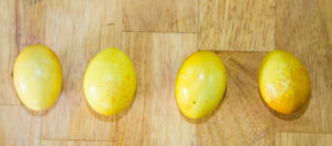 yellow dyed easter eggs