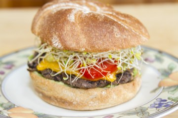 black bean burger with cheese