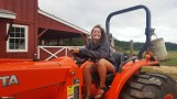 Sydney being silly on the tractor!