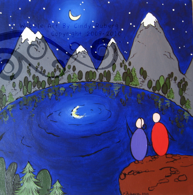 Moonlight Date: Acrylic on Canvas: 12x12 inches