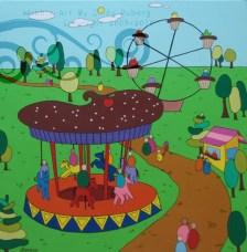 Cupcake Carousel: Acrylic on Canvas: 30x30 inches