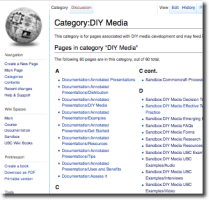 image of wiki page with links to resources that have been collaboratively created for DIY Media