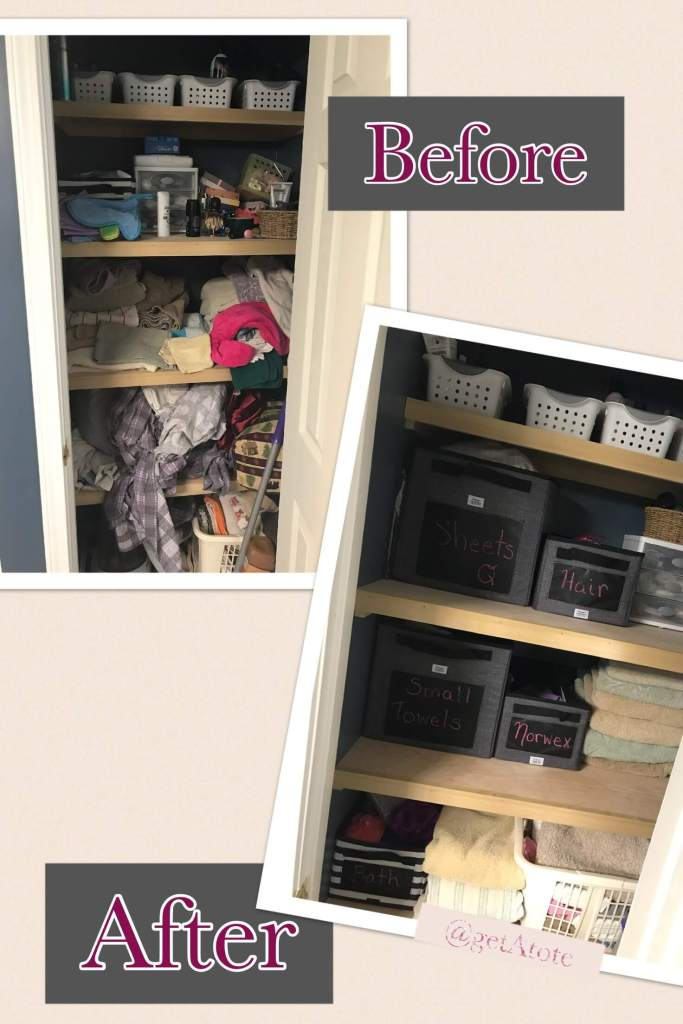 Before and after picture of closet reorganized with Thirty-One totes