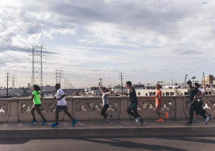 running over the bridge in LA with Nike