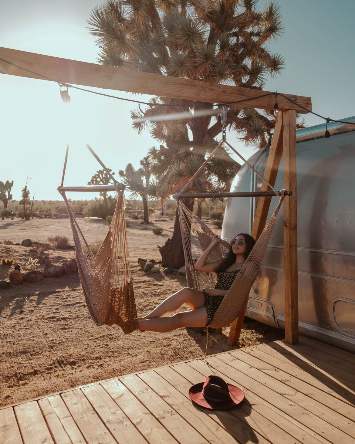 Joshua Tree, California, desert getaway, chill vibes, hammock swing, travel guide