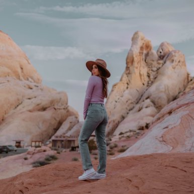 Valley of Fire, white domes, cute outfit, desert destinations, USA travel