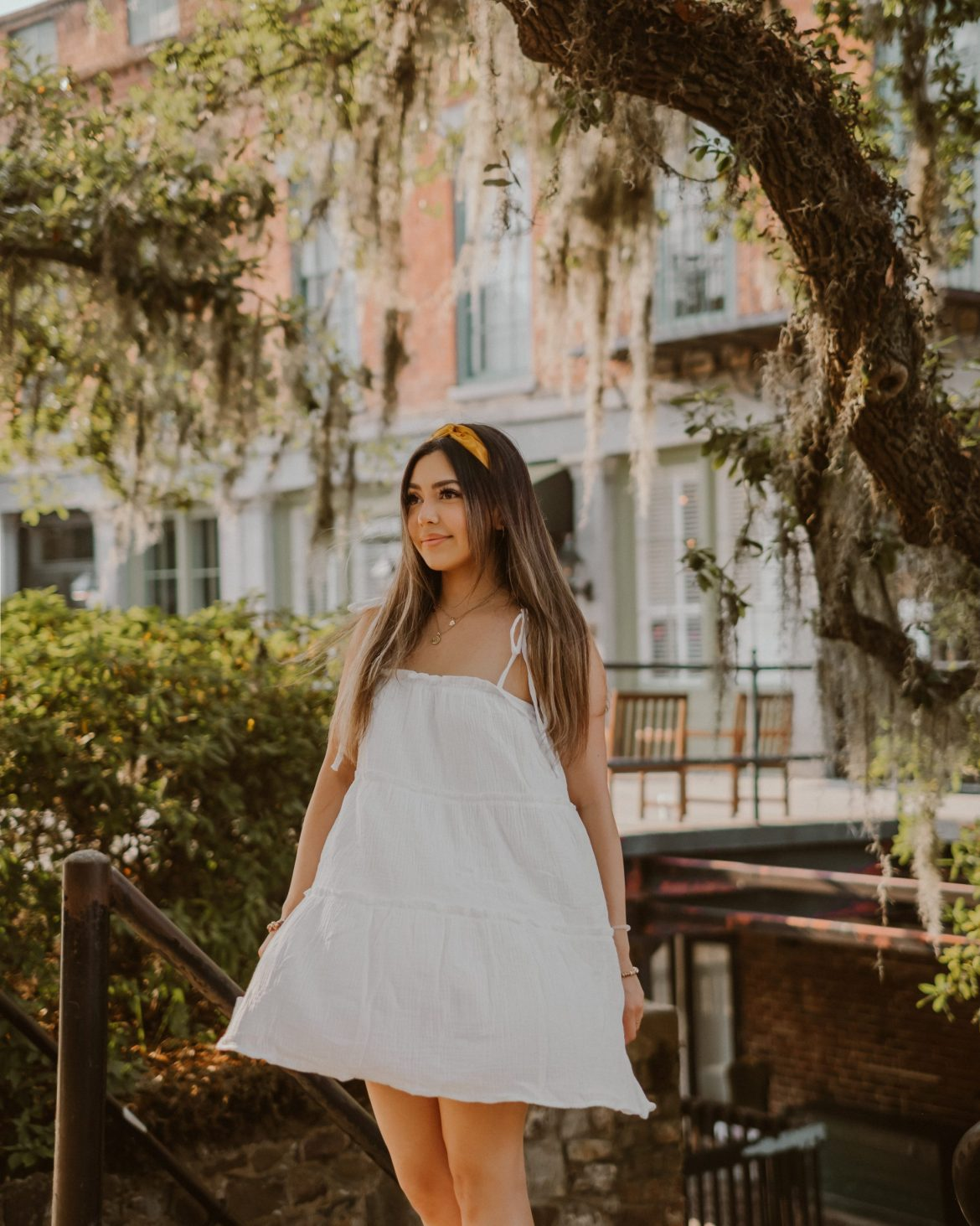 simple white summer dress   outfit ideas for Savannah, Georgia