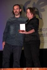 Miembros del equipo de 'El Bosco: El jardín de los sueños', de José Luis López Linares, medalla al mejor documental.