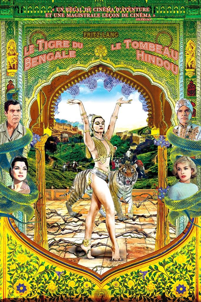 Affiche globale de la reprise des deux clasiques de Fritz Lang le tigre du Bengale et Le tombeau Hindou