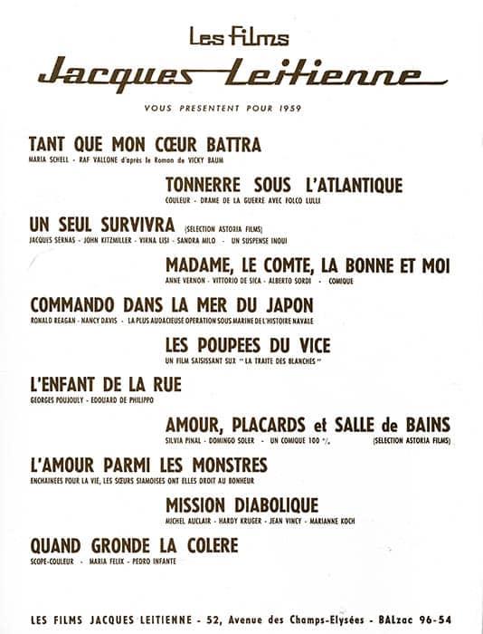 Les Films Jacques Leitienne, 1959
