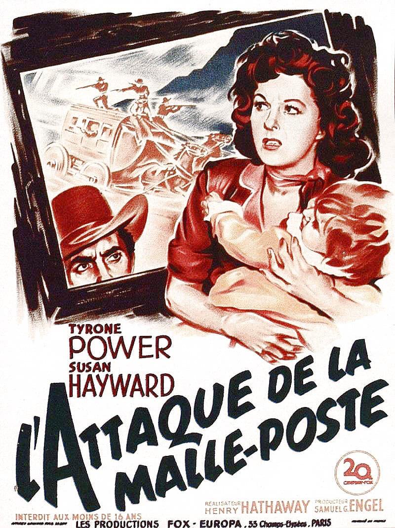L'attaque de la malle-poste : affiche de Roger Soubie, avec Tyrone Power