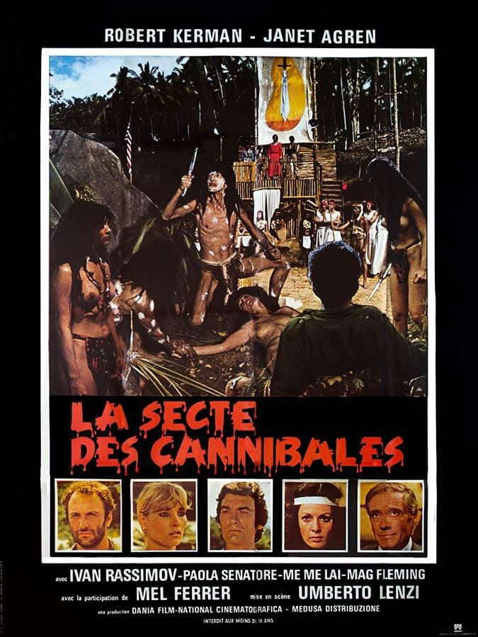 Affiche de cinéma rare de La secte des cannibales d'Umberto Lenzi