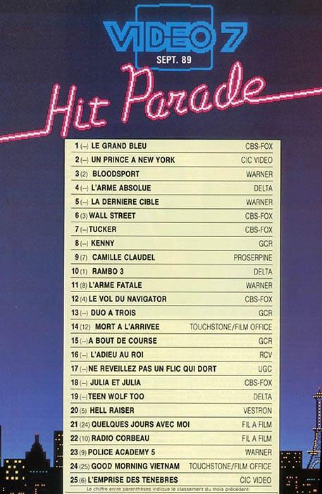 Hit parade vidéo 7, septembre 1989