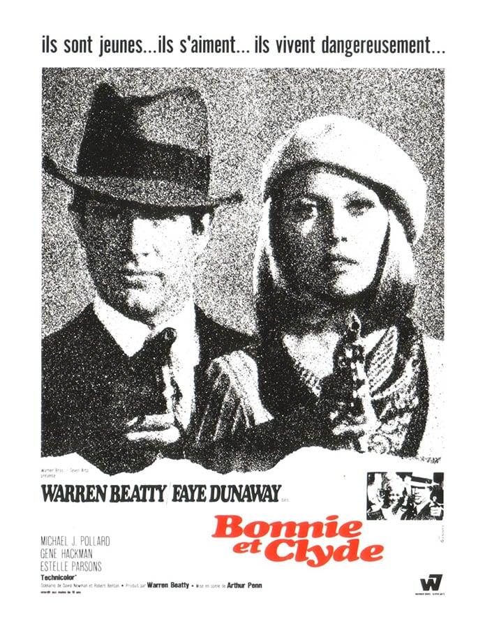 Bonnie et Clyde, affiche du film d'Arthur Penn, avec Warren Beatty