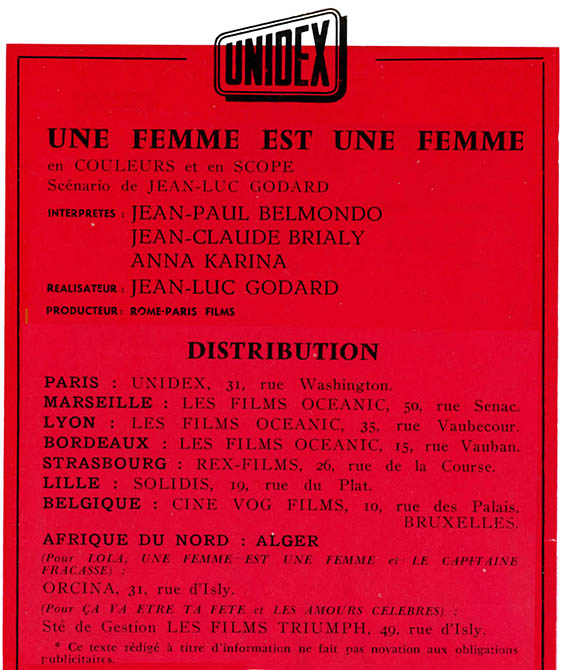 Une femme est une femme : distribution du film de Unidex