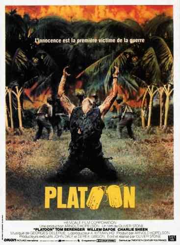 Platoon, affiche du film d'Oliver Stone, avec CHarlie Sheen