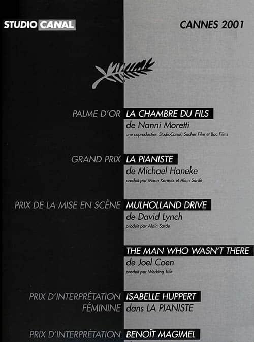 Le triomphe de StudiCanal à Cannes 2001