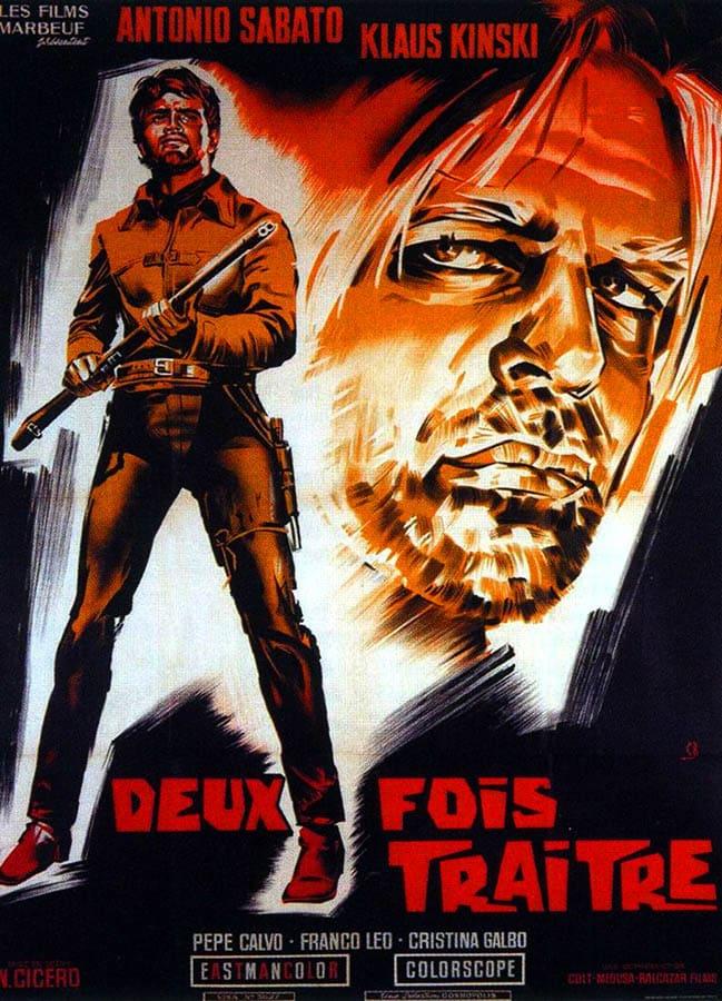 Deux fois traitre, affiche du film (Klaus Kinski)