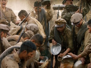 Soldiers gathered to eat.